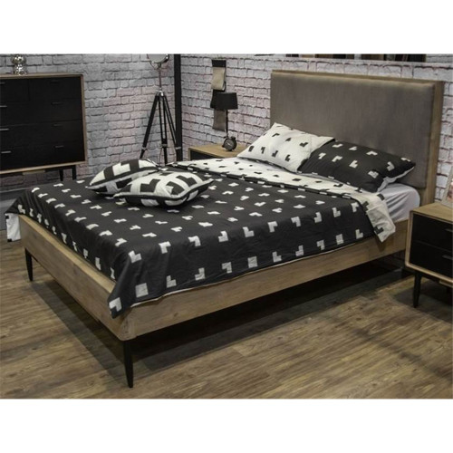 QUEEN ALBA HARDWOOD BED WITH  FABRIC UPHOLSTERED HEADBOARD  - TAUPE / BLACK