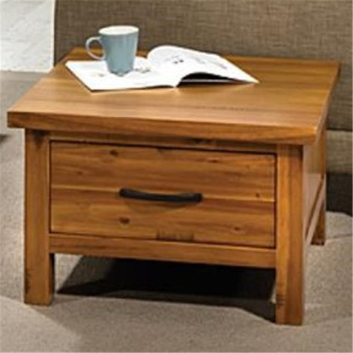 PEYTON 1 DRAWER HARDWOOD LAMP  TABLE - 700(W) - LIGHT WALNUT