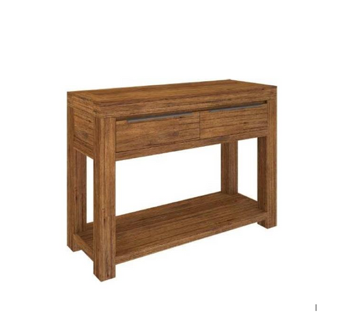 ALPINE  CONSOLE HALLWAY TABLE WITH 2 DRAWERS   -850(H) x 1200(W) x 400(D) - GOLDEN WALNUT