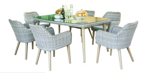 CURSO 7 PIECE 6 SEATER OUTDOOR DINING SET 1800(L) X 1000(W) TABLE - GREY