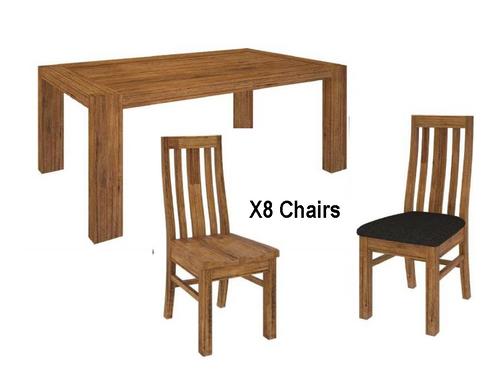 ALPINE  9 PIECE  DINING SETTINGS  - WITH 2100(L) X 1000(W) TABLE  - GOLDEN WALNUT
