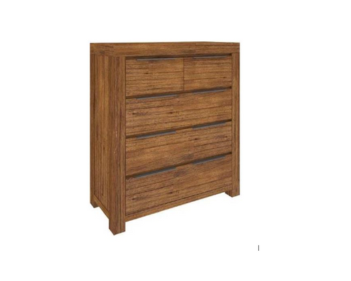 ALPINE TALLBOY CHEST  TABLE WITH 5 DRAWERS - 1200(H) X 1050(W) - GOLDEN WALNUT