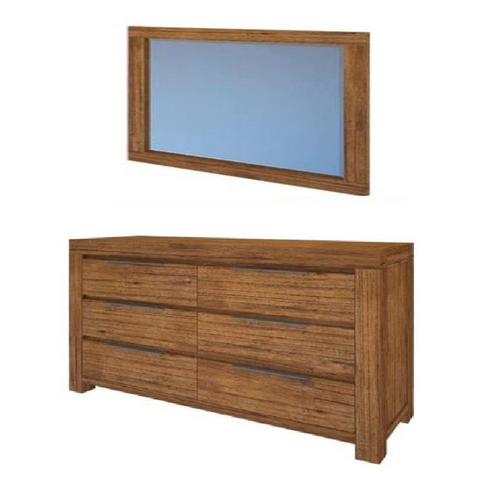 ALPINE  DRESSING TABLE   6  DRAWERS WITH MIRROR  - 850(H) X 1400(W)  -GOLDEN WALNUT