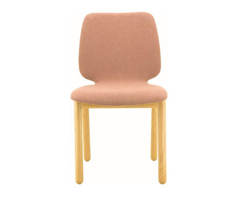 MISSIE  SET OF 2 FABRIC DINING CHAIRS SEAT 440.5(H) -  OAK + BURNT UMBER