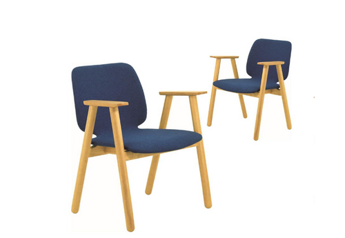 MISSIE  FABRIC ARMCHAIR ( SET OF 2 )   SEAT 430.5(H) - OAK + MIDNIGHT BLUE