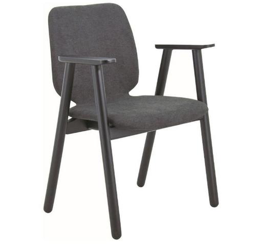 MISSIE  FABRIC ARMCHAIR ( SET OF 2 )   SEAT 430.5(H) -BLACK + DARK GREY