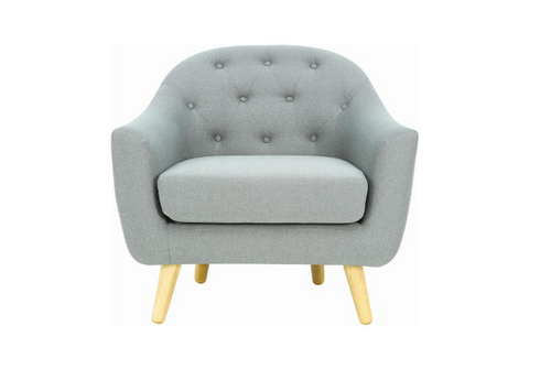 SENKU  SINGLE SEATER FABRIC LOUNGE CHAIR - SEAT: 510(H) - PALE SILVER