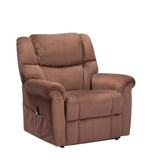 MONROE ELECTRIC MOTOR LIFT SUEDE FABRIC RECLINER CHAIR - BROWN