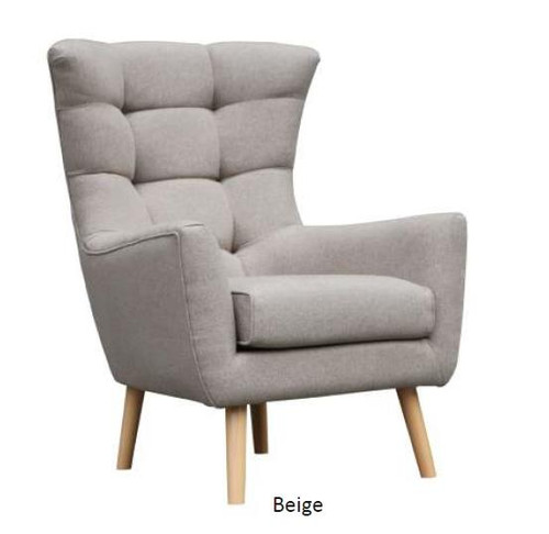 STOCKHOLM FABRIC ARM SOFA CHAIR- BEIGE