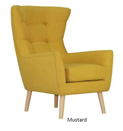STOCKHOLM FABRIC ARM SOFA CHAIR- MUSTARD