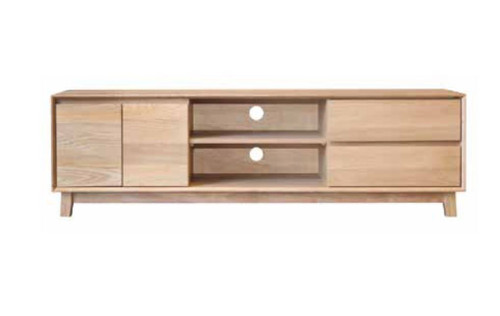 SUMMIT TV UNIT WITH 2 DOOR & 2 DRAWERS - 550(H) x 1795(W) - LIGHT OAK