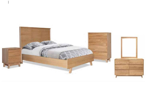 SUMMIT QUEEN 5  PIECE DRESSER   BEDROOM SUITE -  LIGHT OAK
