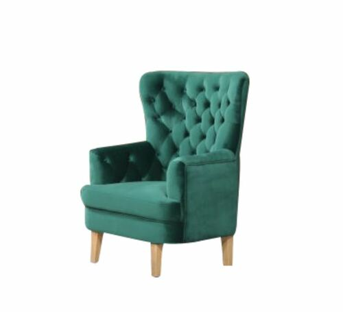 ELISA FABRIC ACCENT UPHOLSTERED BUTTONED SOFA CHAIR  -  EMERALD