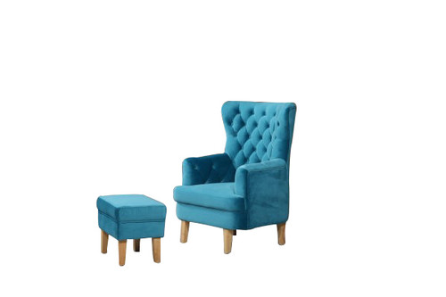 ELISA FABRIC UPHOLSTERED CHAIR WITH FOOT STOOL -  TURQUOISE