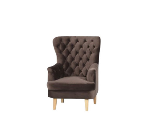 ELISA FABRIC UPHOLSTERED BUTTONED SOFA CHAIR  -  CHOCOLATE
