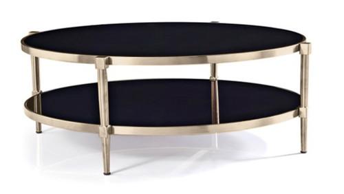 ALBAH COFFEE TABLE WITH SHELF -  NICKEL  / BLACK