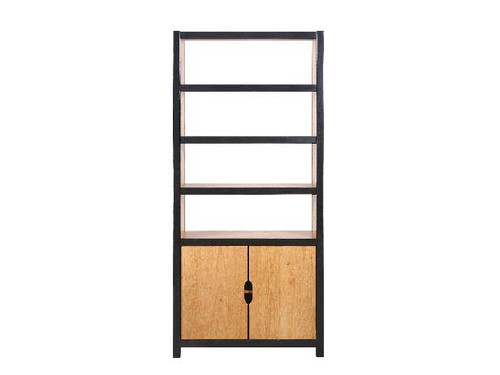 ETON  BOOKCASE WITH 2 DOORS & 4 SHELVES  - 2000(H) X 900(W)  - NATURAL / BLACK
