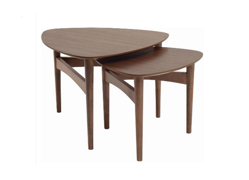 POET COFFEE TABLES - SET OF 2   -600(W) x 580.6(D)-WALNUT