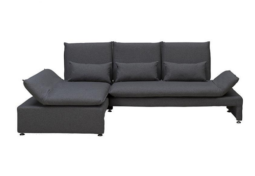 BALTO  2 SEATER FABRIC UPHOLSTERED SOFA WITH  LEFT CHAISE -CHARCOAL GREY