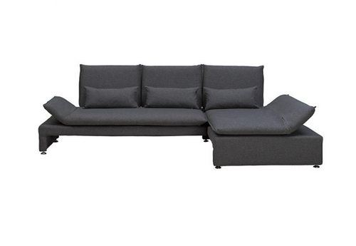 BALTO  2 SEATER FABRIC UPHOLSTERED SOFA WITH  RIGHT  CHAISE -CHARCOAL GREY