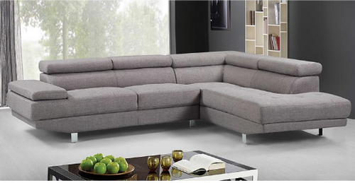 KINSLEY FABRIC SOFA WITH  RIGHT CHAISE GREY