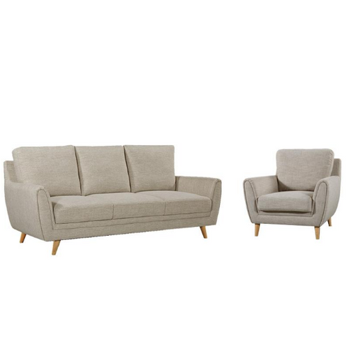 KANE   3  + 1 SEATER  FABRIC SOFA SUITE - BEIGE