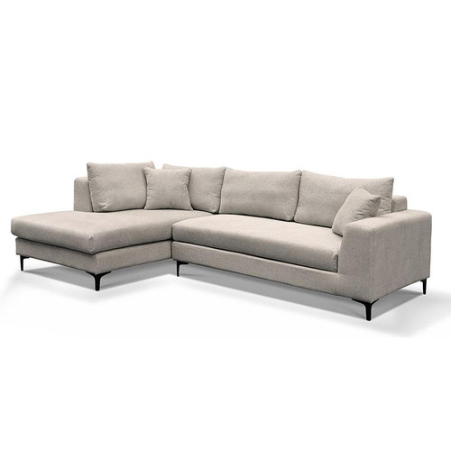 SCARLETT 3  SEATER FABRIC SOFA WITH  LEFT CHAISE - LIGHT GREY