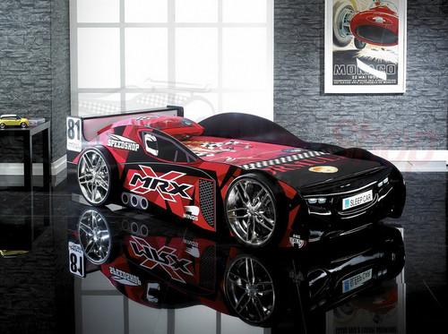 SINGLE MRX RACING CAR BED - BLACK / RED