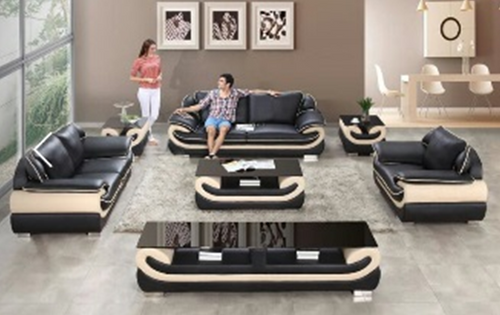 CAMELLIA SIMULATION LEATHER + PVC LOUNGE SUITE 3+2+1 - AS PICTURED