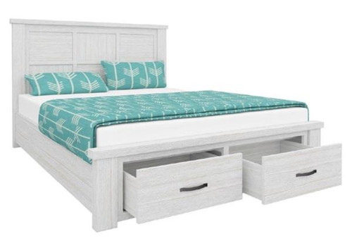 QUEEN MILDRED SOLID TIMBER BED FRAME WITH 2 FOOT END DRAWERS (6-12-15-9-14-1) - WHITE WASH