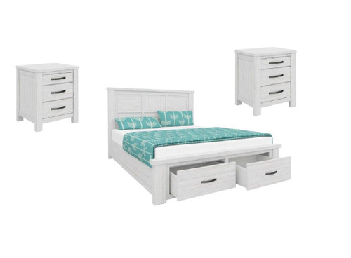 MILDRED QUEEN  3 PIECE BEDSIDE BEDROOM SUITE   (6-12-15-9-14-1)  - WHITE WASH