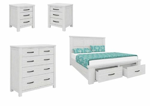 MILDRED DOUBLE  4 PIECE TALLBOY   BEDROOM SUITE  (6-12-15-9-14-1)  - WHITE WASH