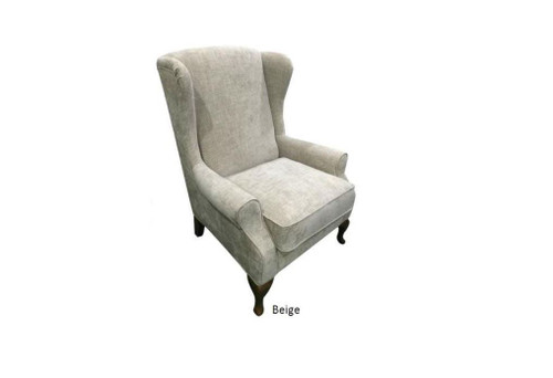 CHARLES WING FABRIC UPHOLSTERED  ARM CHAIR - BEIGE