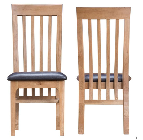 ROBINHOOD SLATTED BACK DINING CHAIR (NT-CSP) WITH LEATHERETTE SEAT