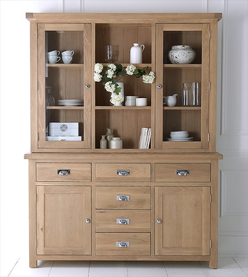 DOVIA (LO-LS) LARGE SIDEBOARD WITH HUTCH - 2010(H) X 1550(W) - WASHED OAK
