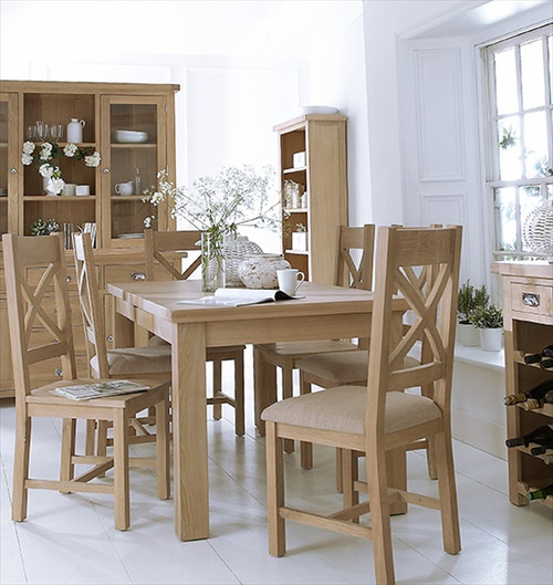 DOVIA (LO-125BET)  7 PIECE DINING SETTING WITH EXTENSION TABLE  1800 (L) x 900(W)  - WASHED OAK