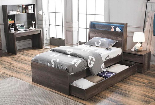 KING SINGLE KESWICK BED WITH KING SINGLE TRUNDLE (16-8-15-20-15-14) - CHARCOAL OAK