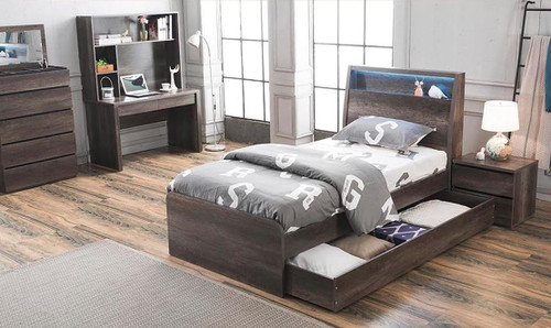 KESWICK KING SINGLE OR SINGLE 4 PIECE BEDROOM SUITE (WITH MATCHING TRUNDLE) WITH TALLBOY (16-8-15-20-15-14) - CHARCOAL OAK