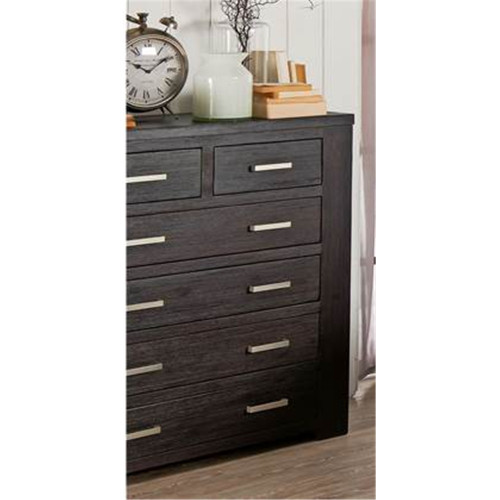RUSTIC 6  DRAWER TALLBOY CHEST  -1200(H) X 1100(W) - DARK CHOCOLATE