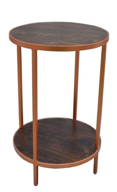 BONNIE ROUND SIDE TABLE  (BNE-002)  - DARK STAIN