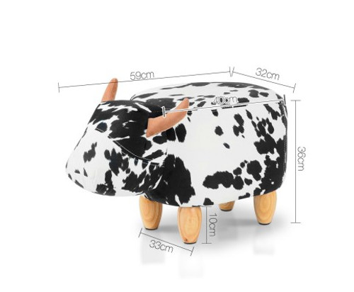 COW ANIMAL KIDS STOOL - BLACK & WHITE