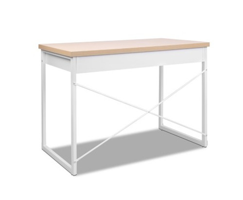 MET COMPUTER DESK WITH DRAWERS - WHITE / OAK