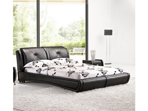 QUEEN  GRANDEE  LEATHERETTE  BED   - BLACK