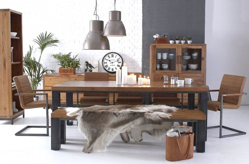 CIENNA 7 PIECE DINING SETTING WITH 1800(L) X 900(W) TABLE , 5 CHAIR AND 1 LONG BENCH - BLACK / OAK