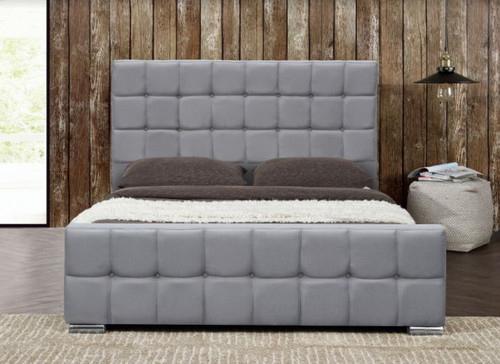 QUEEN BERLIN  LEATHERETTE  BED  -  GREY