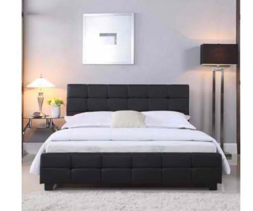 DOUBLE BRAVO (V43-BED-BRVQBL) LEATHERETTE BED - BLACK