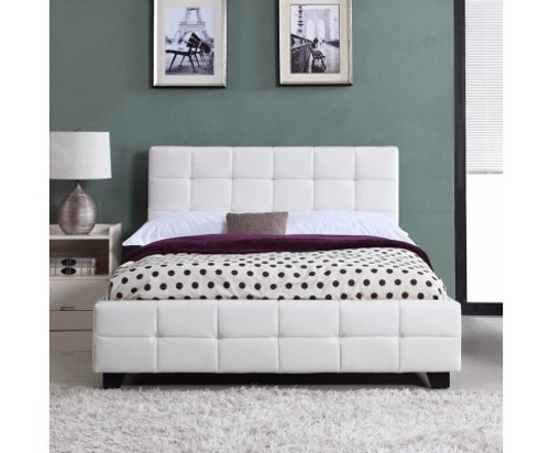 QUEEN BRAVO (V43-BED-BRVQWH) LEATHERETTE BED - WHITE
