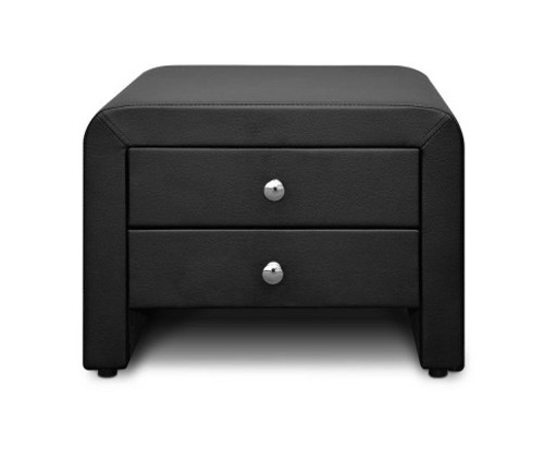ABRENO 2 DRAWER LEATHERETTE BEDSIDE TABLE (BFRAME-F-JERI-BK) - BLACK-