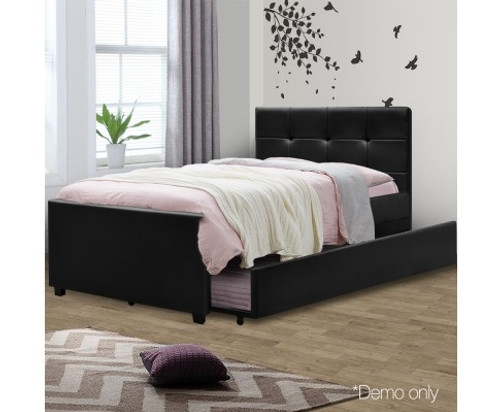 KING SINGLE FLEET LEATHERETTE BED WITH SINGLE TRUNDLE BED - BLACK