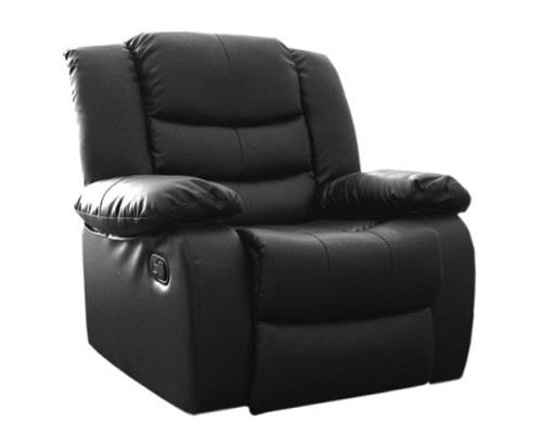 HANNY  BONDED LEATHER SINGLE RECLINER  - BLACK